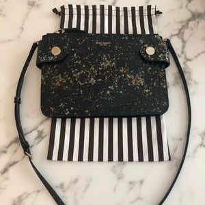 Henri Bendel black leather splatter paint bag